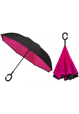 Inside Out roze paraplu, dubbeldoeks en windproof