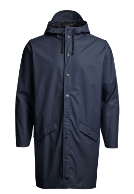 Marineblauwe lange regenjas van Rains (Long Jacket)
