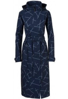 Navy blue print Urban outdoor lange damesregenjas / trenchcoat van Agu